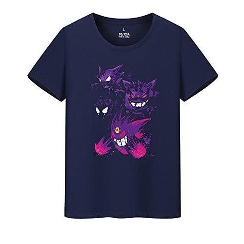 Camiseta de manga corta para hombre Pokemon Gengar Japón Anime Cartoon Tee Mujeres Hiphop Rock Entrenamiento Tops Camisetas Camisetas