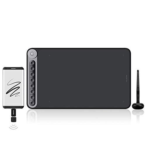 HUION Inspiroy Dial Q620M Tableta de dibujo gráfica inalámbrica, tableta gráfica de 10 x 6 pulgadas con 8 teclas de presión y 1 controlador de dial, ideal para trabajar desde casa y aprendizaje remoto