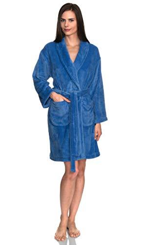 towelselections Túnica de la mujer, felpa forro polar corto Spa albornoz, hecho en Turquía - Azul -