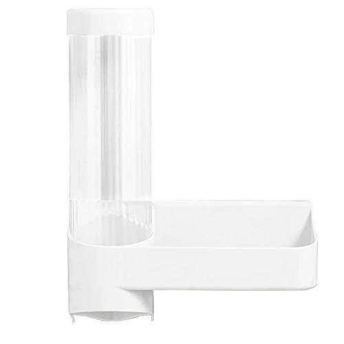 Dfghbn Dispensador de tazas de papel desechable para dispensador de agua, montado en la pared, con estante de almacenamiento de tapa (color blanco, tamaño: talla única)