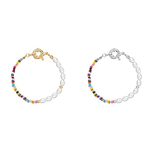 Hpory Collar de perlas de Bohemia para mujer, 45 cm, collar de semillas de colores, gargantilla de perlas, cadena ajustable, joyería de playa, 1 unidad, unisex, #Pory0607139#d, 2 pulseras, medium