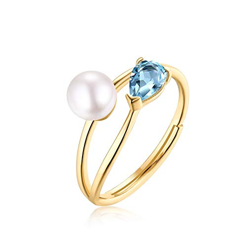 MF.CHAMA - Anillo ajustable para mujer, plata 925, topacio azul