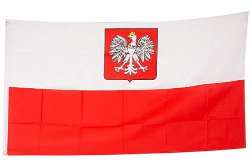 SCAMODA Bandiere federali e statali in Materiale Resistente alle intemperie con Occhielli Metallici, Bandiera (150x90cm) (Polonia)