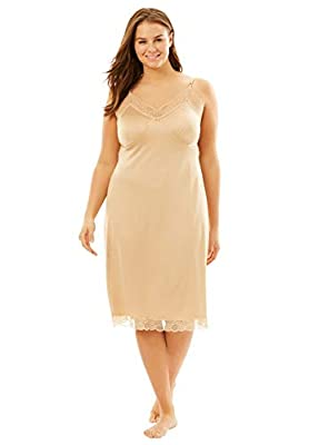 Comfort Choice Women's Plus Size Double Skirted Full Slip - 26/28, Nude