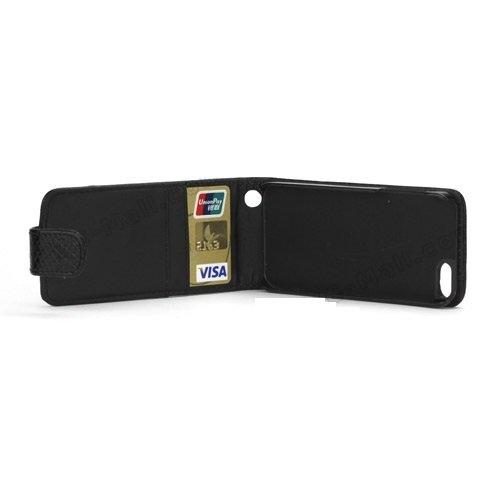 Noir Apple iPhone 5 Flip PU Cuir Coque portefeuille – avec 2 Caisse/emplacements pour cartes de crédit à l'intérieur