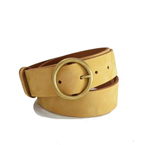 Nubuck hellbrauner Ledergürtel, 40mm, Herrengürtel, Damen, Hosen - Handgefertigt in England - 1 1/2 Zoll - Gold Messing Schnalle - Lederriemen