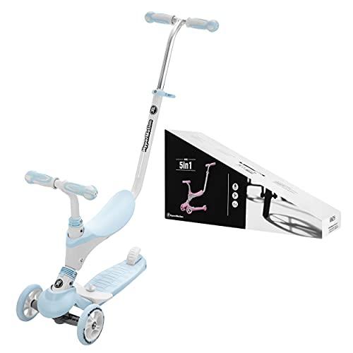 HyperMotion Draisienne Trottinette Enfant 1 à 5 Ans Globber Tricycle Bébé Évolutif Modulable 5 en 1 | Poussoir Réglable, Repose-Pieds, Siège, Guidon Réglable - Bleue