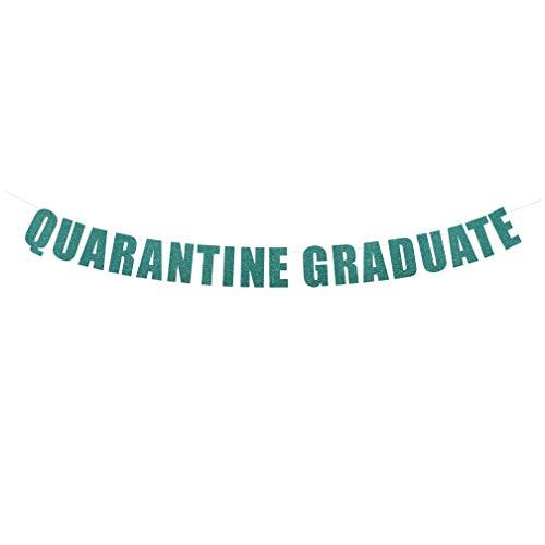Quarantine Graduate Banner - Funny Party Sign, Virtual Graduation Party Decorations, Quarantine Grad Banner, Congrats 2020 Grad Decor | String It Banners (Sea Glass Glitter)