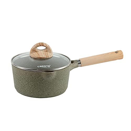 Carote Granite Nonstick Saucepan with Glass Lid 2QT, One Side Spout Saucepan, PFOA/PFOS FREE-2QT Saucepan Green