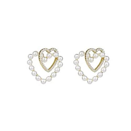 Pendientes Retro Diamante Perla Amor Pendientes de botón Temperamento Simple Todo-fósforo Pendientes de Mujer Regalo de cumpleaños