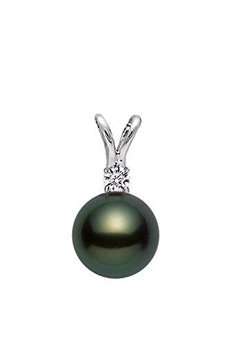 14k White Gold AAAA Quality Black Green Akoya Cultured Pearl Diamond Pendant (7.5-8mm) - PremiumPearl