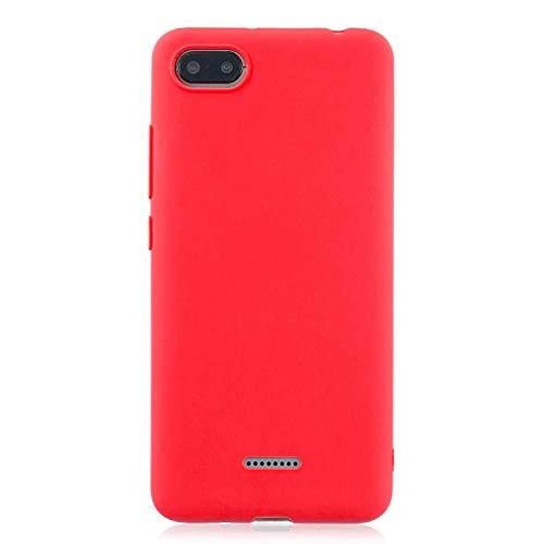 cuzz Funda para Xiaomi Redmi 6A+{Protector de Pantalla de Vidrio Templado} Carcasa Silicona Suave Gel Rasguño y Resistente Teléfono Móvil Cover-Rojo