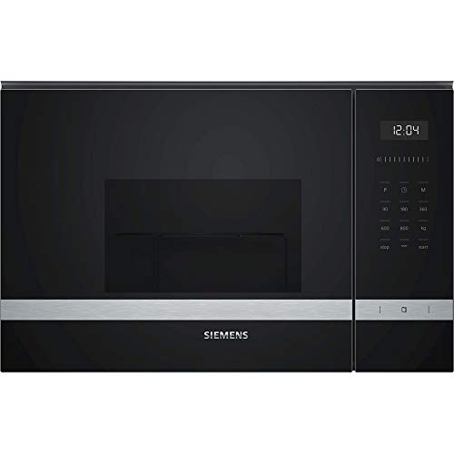 Siemens BE525LMS0 iQ500 - Microondas integrable, 38 cm, 20 L, 800 W, Grill 1000 W, Color negro y acero inoxidable