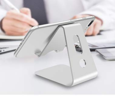 Go Import Tablet stand Phone stand for desk mobile mount for ipad Solid Portable Universal Aluminum Desk Stand Iphone stand phone holder (Silver)