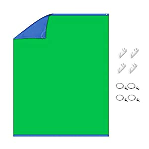 Neewer Chromakey Green/Blue Screen 2-in-1 Curtain Backdrop with 4 Hooks and 4 Clips for Video/Photography/Gaming/Streaming, 59.1x78.7 inches/1.5x2 Meters Double-Sided Background, Polyester Fiber