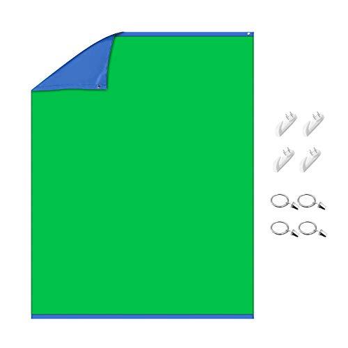 Neewer Chromakey grün/Blauer Bildschirm 2-in-1 Vorhang Hintergrund mit 4 Haken und 4 Klammern für Video/Fotografie/Spiele/Streaming, 1,5x2 Meter doppelseitiger Hintergrund, Polyesterfaser