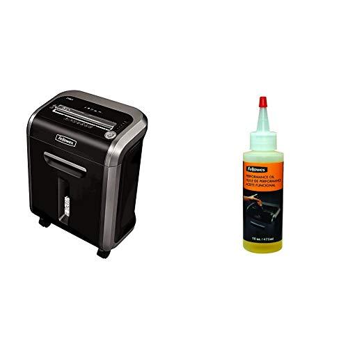 Fellowes Powershred 79Ci 100% Jam Proof Medium, Duty Cross, Cut Shredder, 16 Sheet Capacity, Black/Dark Silver & Powershred Performance Shredder Oil, 16 oz. Extended Nozzle Bottle (3525010)