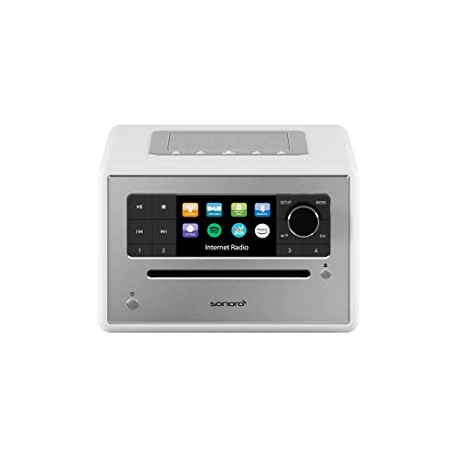 sonoro Elite Internetradio mit CD-Player (UKW/FM/DAB+/WLAN, CD, AUX, Bluetooth, Spotify, Amazon Music, Deezer) Weiß (2020)
