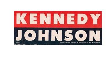 KENNEDY-JOHNSON Authentic Election Bumper Sticker