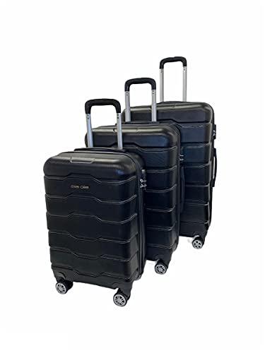 ESS COO - Juego de 3 maletas de viaje con ruedas giratorias (55 cm, 65 cm, 75 cm), Negro , 55 cm, 65 cm, 75 cm,