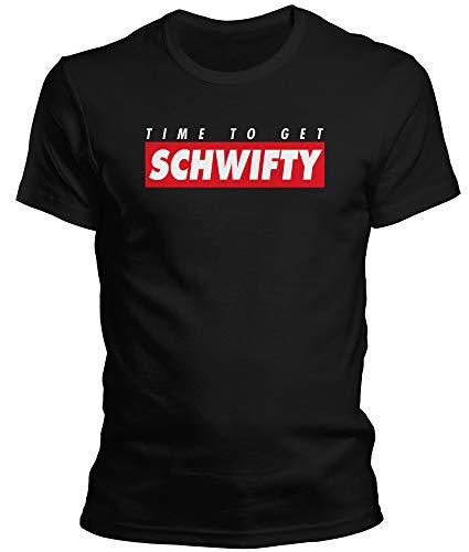 DragonHive Witziges Herren T-Shirt - Rick and Morty Time to Get Schwifty - Lustiges Fun Motiv Tshirt für Männer, Größe:XL, Farbe:Schwarz