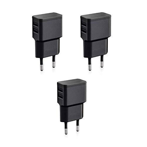 Wicked Chili 3X Cargadores con Doble USB de Carga rápida Universal para Smartphone, Smart Watch, Powerbank y Altavoz Bluetooth - Cargador USB de Pared con 2 Puertos USB de 90 Grados (12W/2,4A) Negro