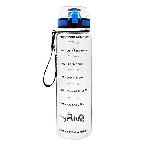 LERDBT Botella de agua deportiva de 1 litro, con tiempo, botella de agua deportiva, sin BPA, a prueba de fugas, adecuado para fitness, gimnasio, hogar, oficina, al aire libre