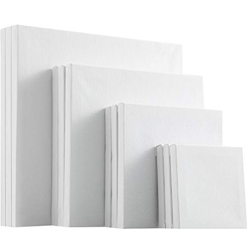 12 Pieces Assorted Size Mini Art Canvas Stretched for Craft Painting Drawing (4 Inches/ 6 Inches/ 8 Inches/ 10 Inches)
