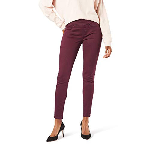 Signature by Levi Strauss & Co. Gold Label Women's Totally Shaping Pull-On Skinny Jeans, Winetasting-Waterless, 12