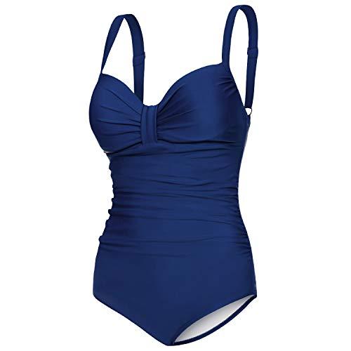 Aqua Speed einteiliger Badeanzug schick Damen | Damenbadeanzug Strand | Blauer Badebekleidung mit Bügeln | Push Up Bathing Suits Women | Once Piece Swimsuit | Blau, Gr. 40 - D - E | Olivia