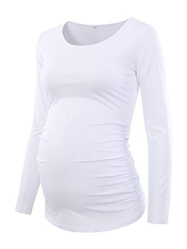 Love2Mi Camiseta de premamá de manga larga para mujer Blanco XL