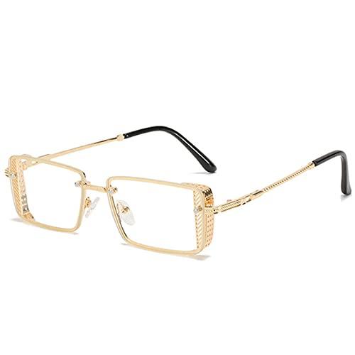 Metal Square Punk Gafas de Sol Hombres Rectángulo Vintage Gafas de Sol Femenino Moderno Damas Eyewear UV400-Claro / Transparente_En la Caja