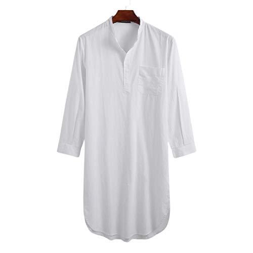 Camisa Larga de Color sólido para Hombre, Ropa de Calle con Bolsillo Lateral, Tendencia de Moda Simple, Cuello Alto, Camisa de Manga Larga M