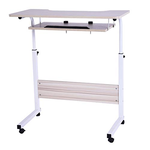 Ydida Home Office Desk Small Desk Raised and Lowered Snack Table Multi-Function Height Table Bedside Home Lazy Folding Laptop Computer Desk