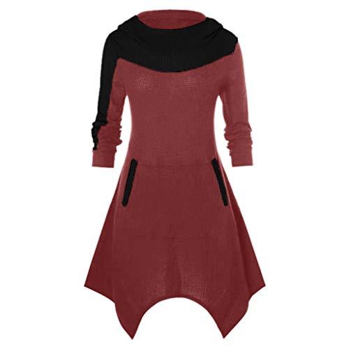 AmyGline Damen Steampunk Gothic Oberteil Strick Pullover Kleid mit Kapuze Langarm Vintage Retro...