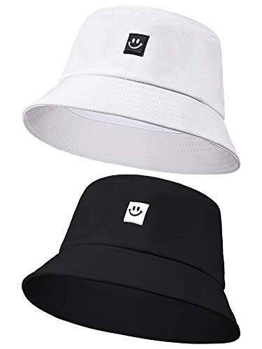 2 Pieces Smiling Face Bucket Hats Foldable Beach Sun Hats Fisherman Hats...