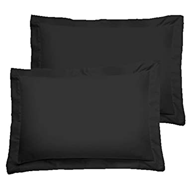 American Pillowcase Luxury Egyptian Cotton 300 Thread Count 2-Piece Pillow Sham Set 21 x 26 Inch- Standard, Black