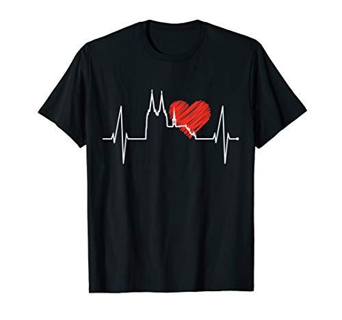 Köln Herzschlag Skyline Kölner Dom Fan Herz Puls Kölsch Köln T-Shirt
