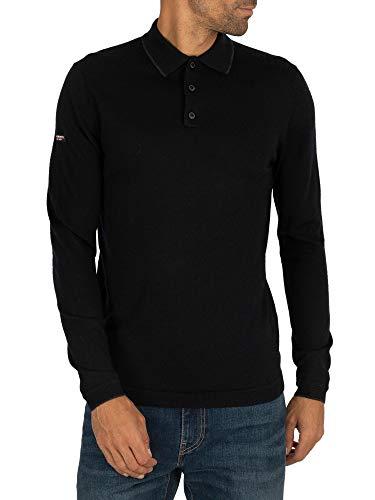 Superdry Herren Bearbeiten Sie Merino Longsleeved Polo Shirt, Schwarz, XL