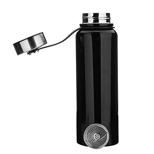 YYW - Botella térmica de acero inoxidable de 1,5 litros, aislada al vacío, termo, a prueba de fugas, deportiva, doble pared, termo para deporte, Unisex adulto, Negro , 1.5 L ( 13x3.5 Zoll )