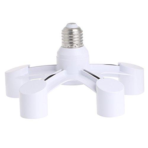 Yushu 5 en 1 E27 a E27 Base Socket Splitter LED Lámpara Adaptador de Bombilla Titular E27 a Cinco Cabezales de Conversión de Lámpara Titular de Accesorios de Iluminación Portafolios Convertidor