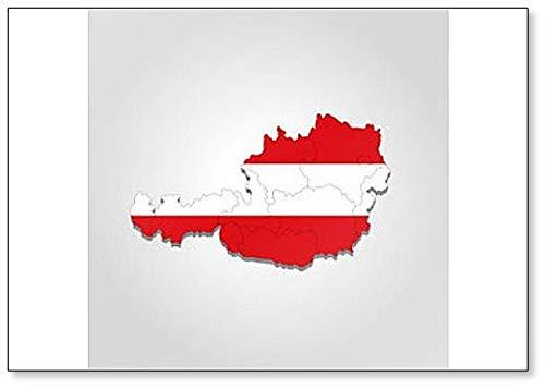 Imán para nevera con diseño de mapa y bandera de Austria