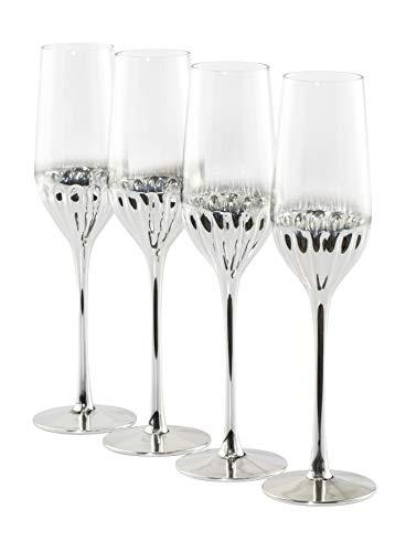Waterside - Set di 4 bicchieri da flauto Glam - Platino