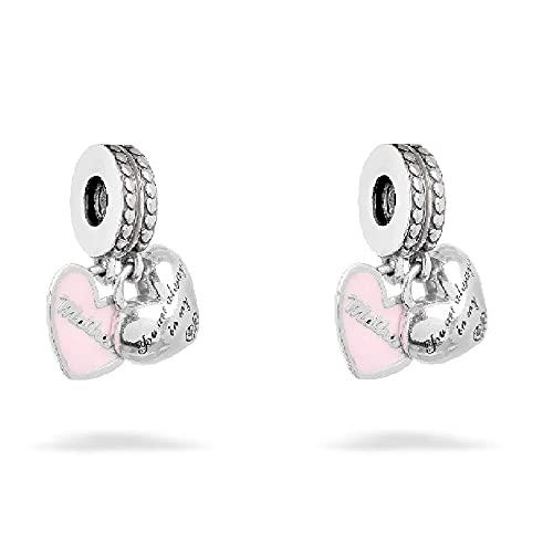 MiniJewelry - Abalorio para Pulsera, diseño de corazón con Texto en inglés I Love You Mom