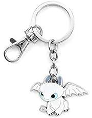 MINGZE Dragons Keychain, How To Train Your Dragon, Creatieve Metalen Tandeloze Night Fury Toothless Lightfury Theme Sieraden Cartoon Karakter Sleutelhanger Speelgoed Voor Kinderen Cadeau