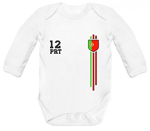 ShirtStreet Soccer World Cup Fussball WM Fanfest Gruppen Strampler Bio Baby Body Bodysuit langarm Jungen Mädchen Streifen Trikot Portugal, Größe: 12-18 Monate,White