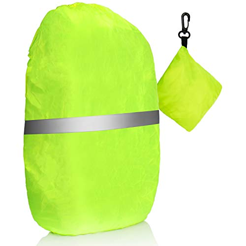 com-four Rain cover for rucksack - Rain cover for satchels in neon yellow - Rain cover with reflector strips, storage bag and carabiner