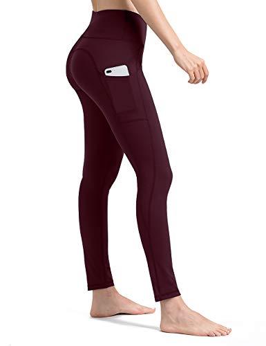 ALONG FIT Leggings Damen mit Taschen, Nicht durchsichtig Sporthose Damen Dehnbar Yogahosen für Damen, Burgunderrot, S