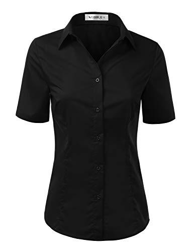 Doublju Womens Slim Fit Plain Classic Short Sleeve Button Down Collar Shirt Blouse Black S