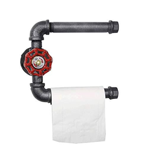 JYDQM Soporte de Papel higiénico: Soporte de Papel higiénico Vintage Soporte de Pared Retro Heavy Duty Industrial Iron Pipe Baño Rollo de Papel